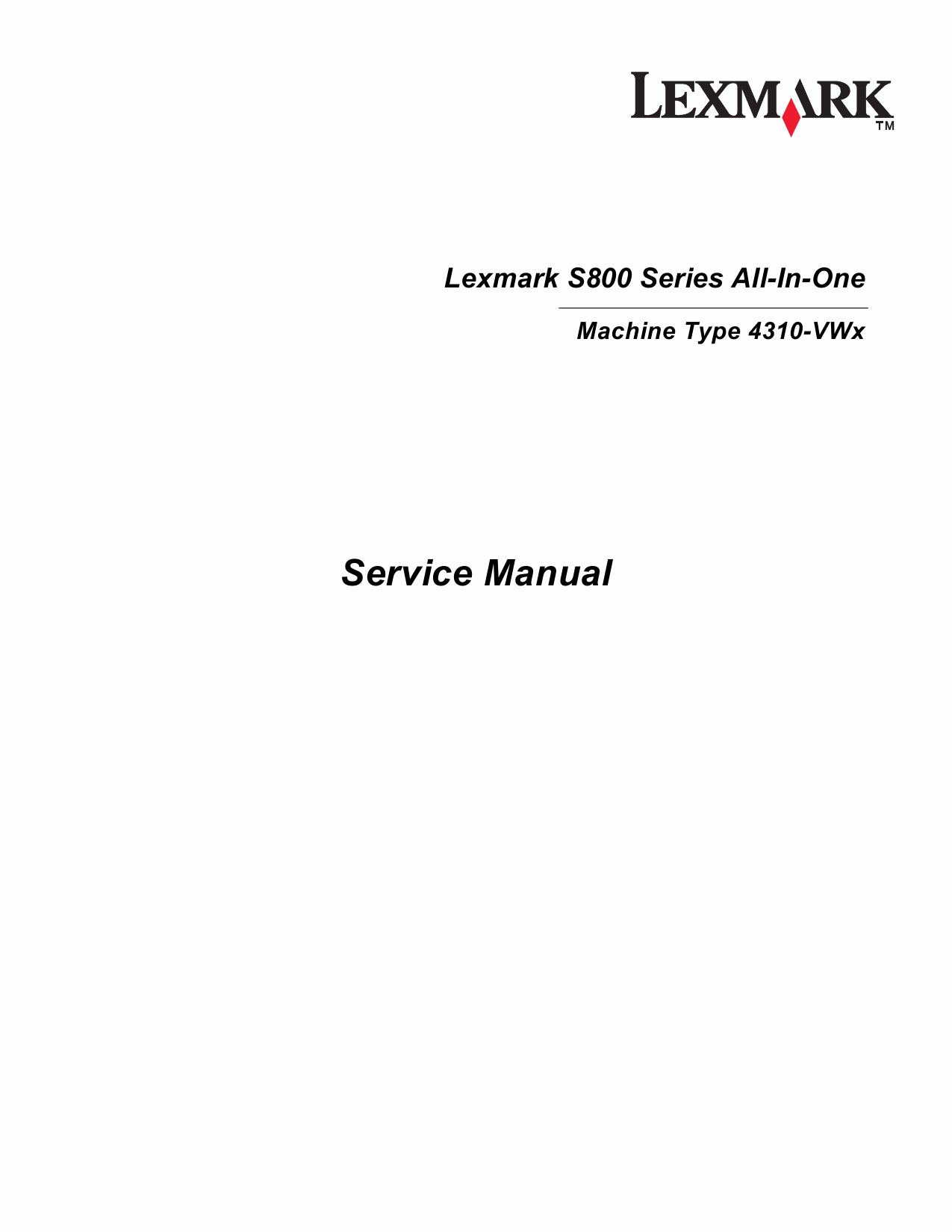 Lexmark All-In-One S800 4310 Service Manual-1